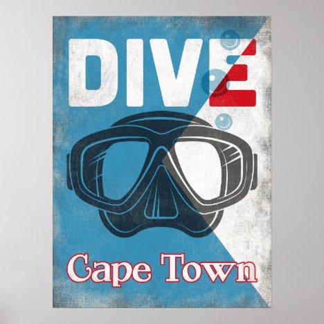 Cape Town Vintage Scuba Diving Mask Poster