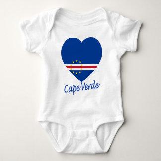 Cape Verde Flag Heart Baby Bodysuit