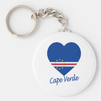 Cape Verde Flag Heart Keychain