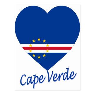 Cape Verde Flag Heart Postcard