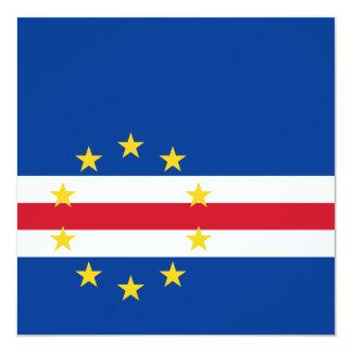 """Cape Verde Flag Invitation 5.25"""" Square Invitation Card"""