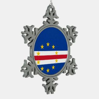 Cape Verde Flag Snowflake Pewter Christmas Ornament