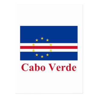 Cape Verde Flag with Name in Portuguese Postcard
