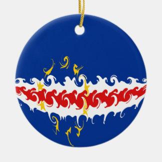 Cape Verde Gnarly Flag Ceramic Ornament