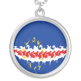 Cape Verde Gnarly Flag Silver Plated Necklace