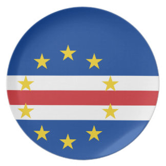 Cape Verde National World Flag Melamine Plate