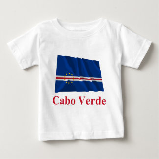 Cape Verde Waving Flag with Name in Portuguese Baby T-Shirt
