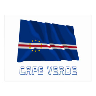 Cape Verde Waving Flag with Name Post Cards
