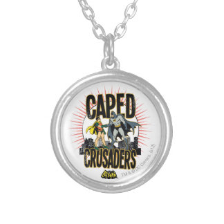 Caped Crusaders Graphic Round Pendant Necklace