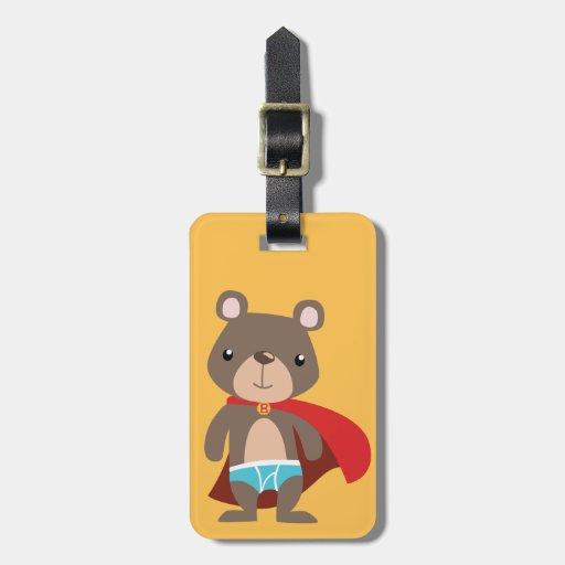 Caped Super Hero Bear Travel Bag Tag