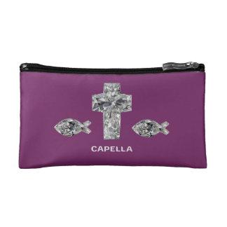 Capella jewels® Christian Fish & Cross Cut Diamond Cosmetic Bag