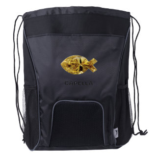 Capella jewels® Christian Fish symbol Drawstring Backpack
