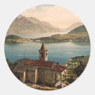 Capello St. Angelo and view of Bellagio, Lake Como Classic Round Sticker