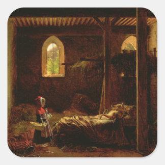 Caperucita Rojo, c.1820 Pegatina Cuadrada
