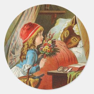 Caperucita Rojo de Carl Offterdinger Pegatina Redonda