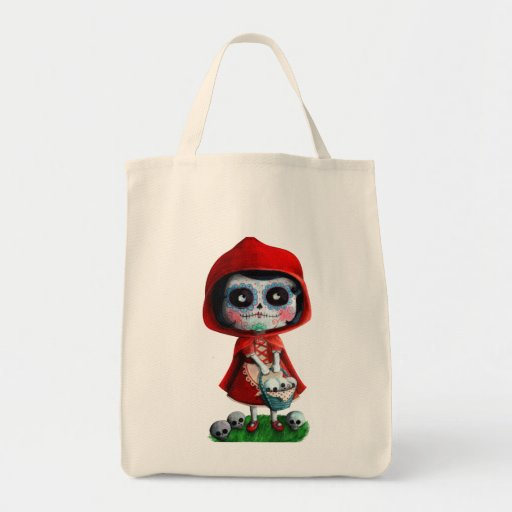 Caperucita Rojo de Dia de los Muertos Bolsa Tela Para La Compra