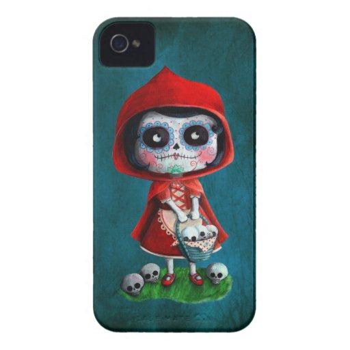 Caperucita Rojo de Dia de los Muertos iPhone 4 Protector