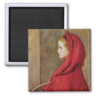 Caperucita Rojo de John Everett Millais Imán Cuadrado