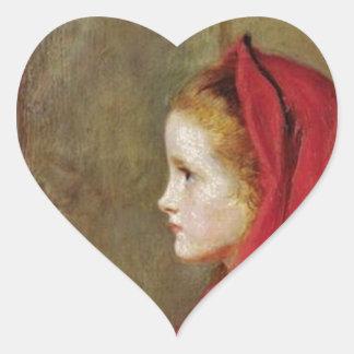 Caperucita Rojo de John Everett Millais Pegatina En Forma De Corazón