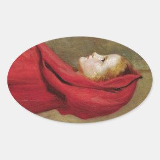 Caperucita Rojo de John Everett Millais Pegatina Ovalada