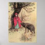 Caperucita Rojo del vintage de Warwick Goble Poster