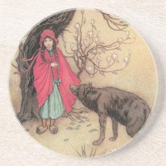 Caperucita Rojo del vintage de Warwick Goble Posavasos Personalizados