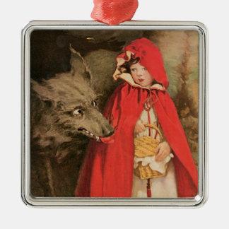 Caperucita Rojo del vintage y mún lobo grande Adorno Navideño Cuadrado De Metal
