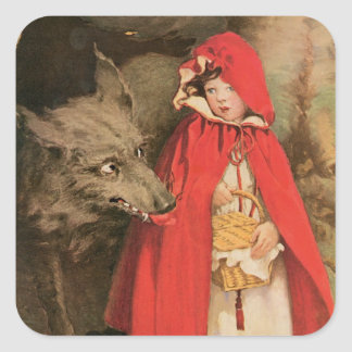Caperucita Rojo del vintage y mún lobo grande Pegatina Cuadrada