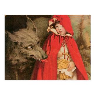 Caperucita Rojo del vintage y mún lobo grande Postales