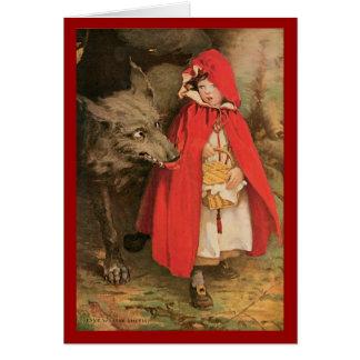Caperucita Rojo del vintage y mún lobo grande Tarjeta De Felicitación