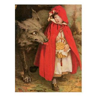 Caperucita Rojo del vintage y mún lobo grande Tarjeta Postal