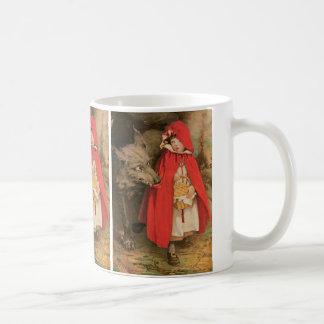Caperucita Rojo del vintage y mún lobo grande Taza Clásica