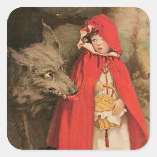 Caperucita Rojo Jessie Wilcox Smith del vintage Calcomanías Cuadradases