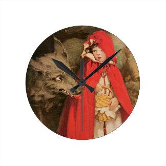 Caperucita Rojo Jessie Wilcox Smith del vintage Reloj Redondo Mediano