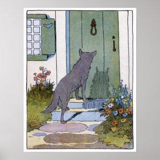 Caperucita Rojo Lobo en la puerta Posters