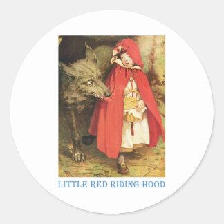 Caperucita Rojo Pegatinas Redondas