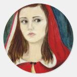 Caperucita Rojo Pegatina Redonda