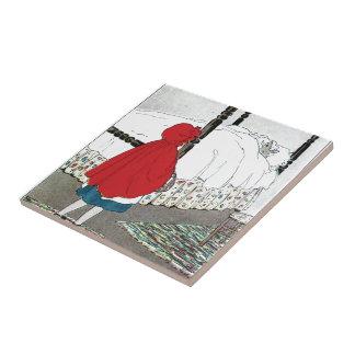 Caperucita Rojo: ¡Qué grandes oídos usted tiene! Azulejo Cuadrado Pequeño