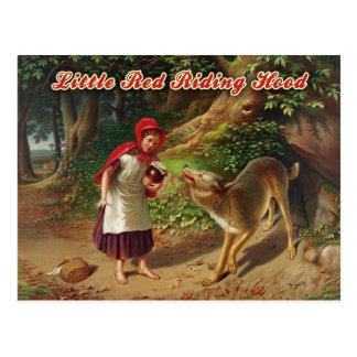 Caperucita Rojo y el mún lobo grande Postal