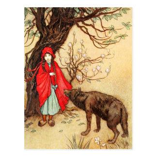 Caperucita Rojo y el mún lobo grande Postales