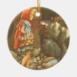 Caperucita Rojo y lobo del vintage en bosque Ornaments Para Arbol De Navidad