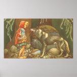 Caperucita Rojo y lobo del vintage en bosque Impresiones