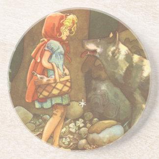 Caperucita Rojo y lobo del vintage en bosque Posavaso Para Bebida
