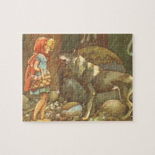Caperucita Rojo y lobo del vintage en bosque Rompecabezas