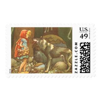 Caperucita Rojo y lobo del vintage en bosque Sellos