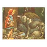 Caperucita Rojo y lobo del vintage en bosque Tarjetas Postales