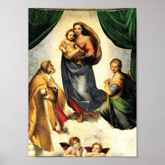 Capilla C. 1513-14 de Madonna Sistine de Rafael Póster