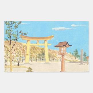 Capilla de Fukuhara en Yamato, paisaje sagrado de Rectangular Pegatina