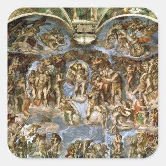 Capilla de Sistine: El juicio pasado, 1538-41 Pegatina Cuadrada