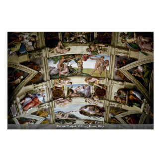 Capilla de Sistine, Vatican, Roma, Italia Póster